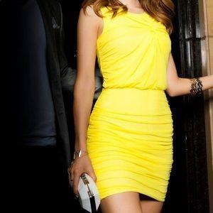 Bright yellow bodycon dress